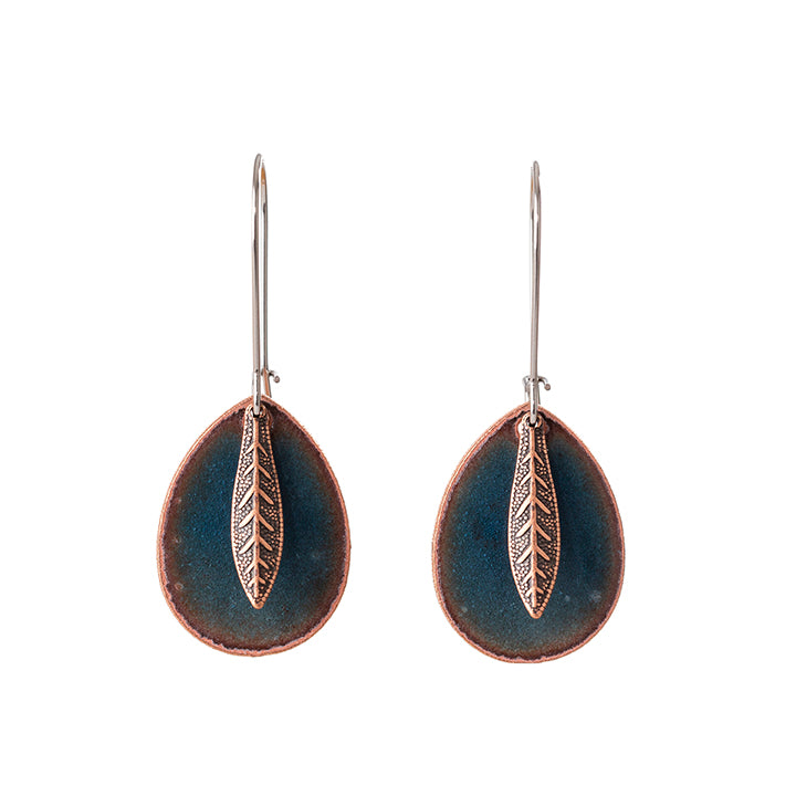 Leaf Teardrop Earrings in Shimmering Water Blue