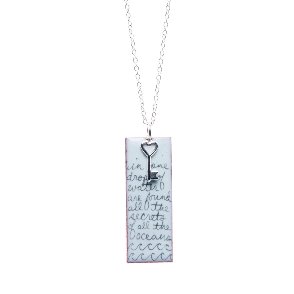 Ocean Poem & Key Necklace in Sky Blue