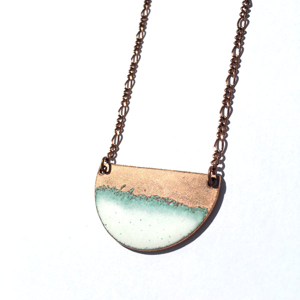 Seafoam Half-moon Necklace in White & Polished Copper