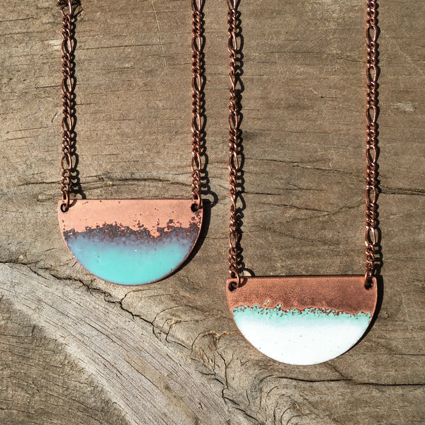Seafoam Half-moon Necklace in Aqua & Polished Copper