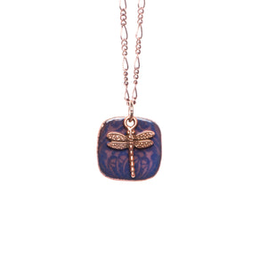 Folk Floral & Dragonfly Necklace in Mauve & Royal