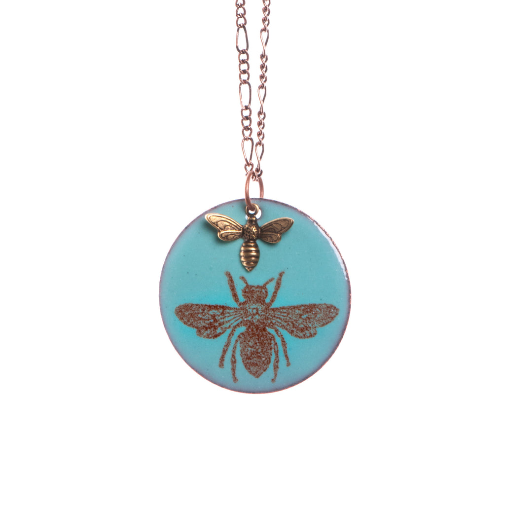 Honeybee & Baby Bee Necklace in Aqua & Earth