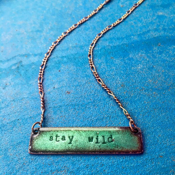 """Stay Wild"" Bar Necklace in Shimmering Sea Green"