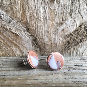 Mountain Stud Earrings in Ivory & Polished Copper