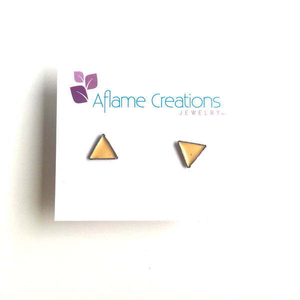 Tiny Triangle Stud Earrings in Yellow
