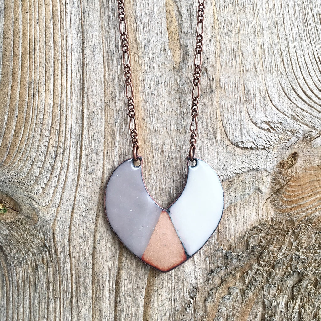 Triad Shield Necklace in Grey, Ivory & Polished Copper