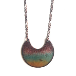 Tropical Waters Crescent Necklace in Plum, Turquoise & Amber