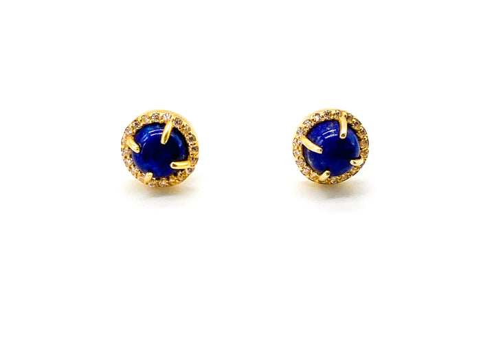 Lapis Bloom Studs Gold