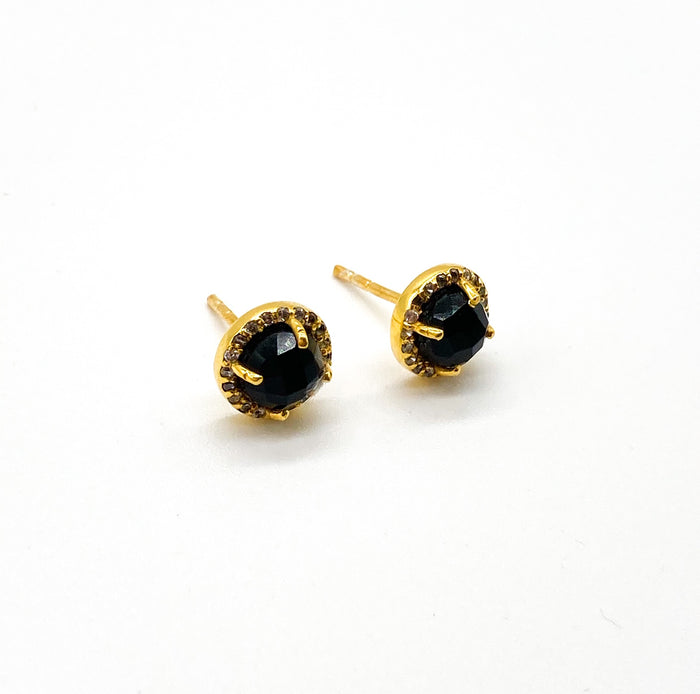 Onyx Bloom Studs Gold