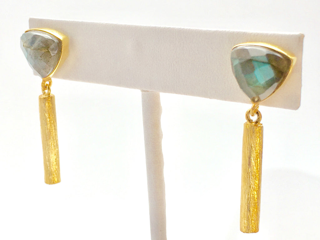 Trillion Bar Earrings Labradorite in Gold