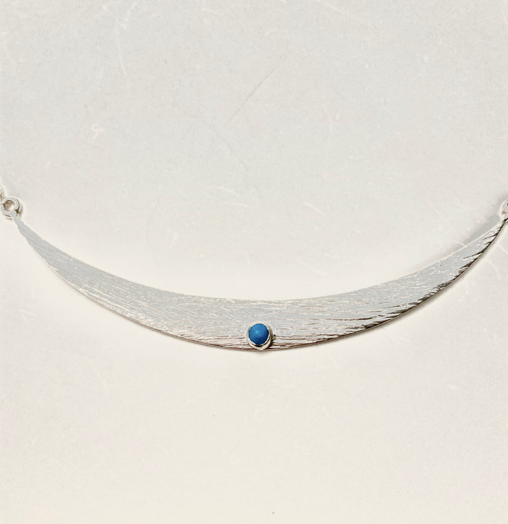 Shield Maiden Necklace - Brushed Silver Turquoise