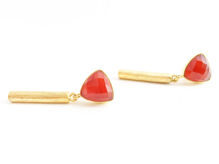 Trillion Bar Earrings Carnelian in Gold
