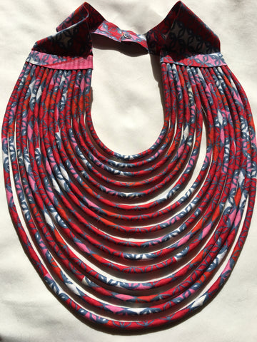 The Rope Necklace in African Wax Cloth - Red & Gray