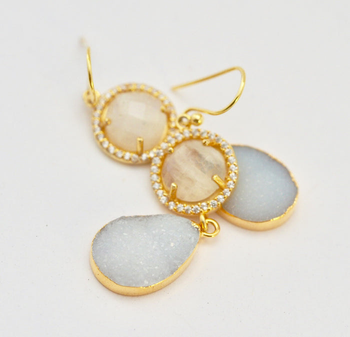 Moon And Druze Earrings