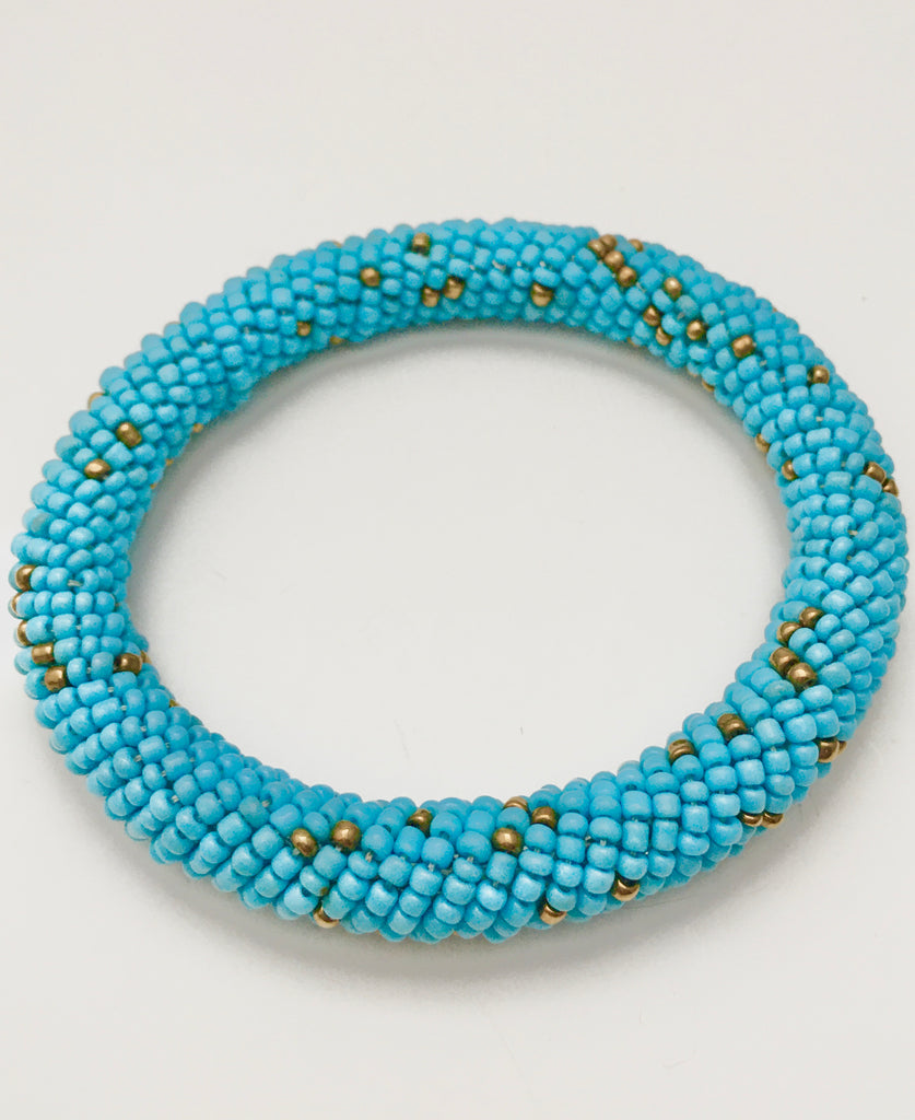 Turquoise and Gold Bead Bangle