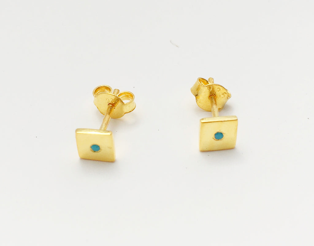 Turquoise Dot Studs Gold