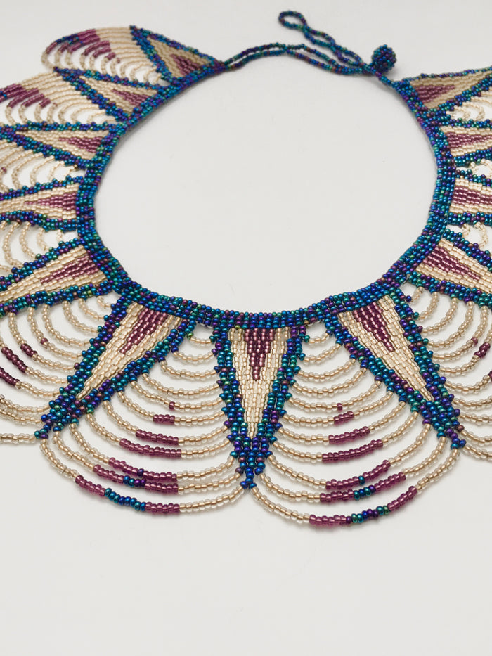 Beaded Bib Necklace in Navy and Purple