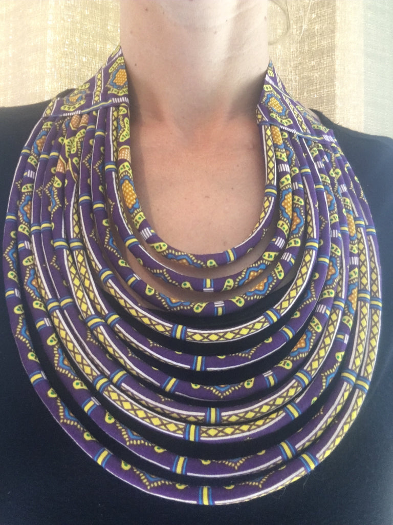 Rope Necklace in African Wax Cloth - Purple & Yellow Bib Necklace