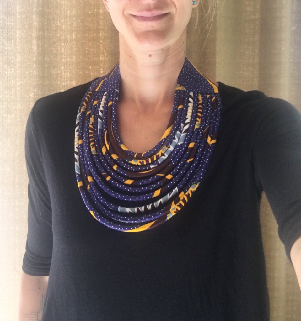 Rope Necklace in African Wax cloth - Blue & Yellow Bib Necklace
