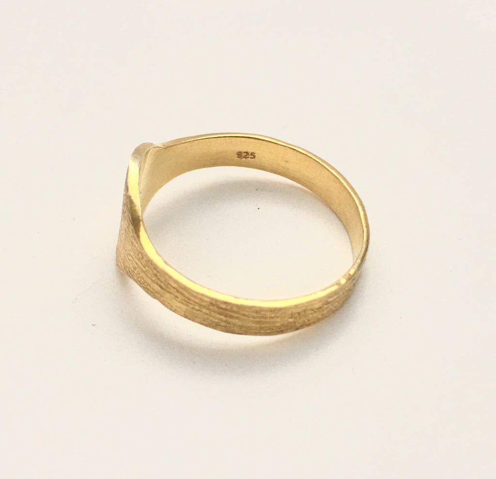 Brushed Signet Ring in Gold