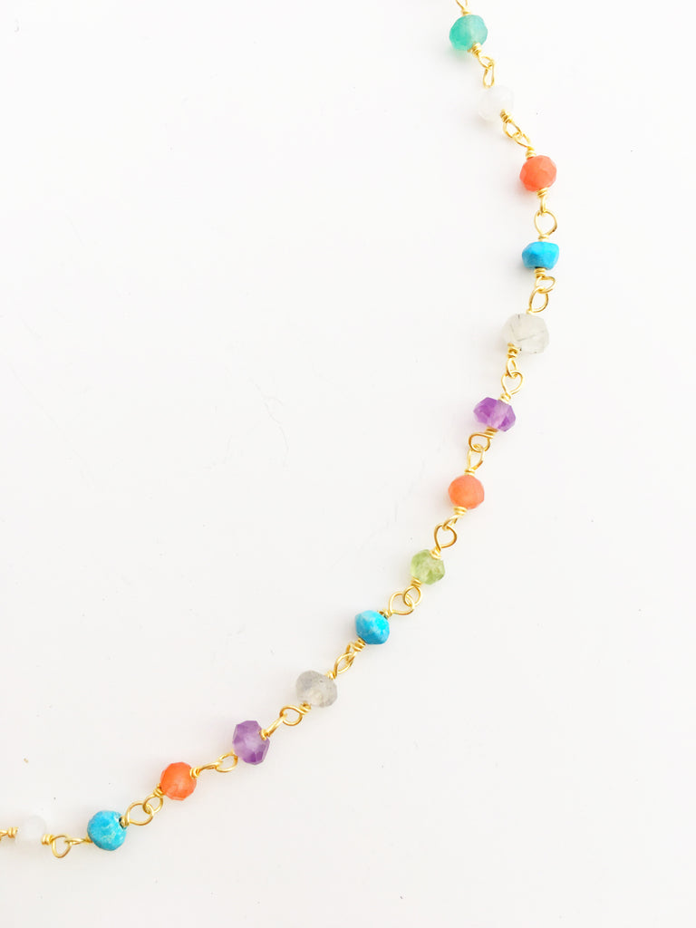 Pastel Gem Infinity Necklace
