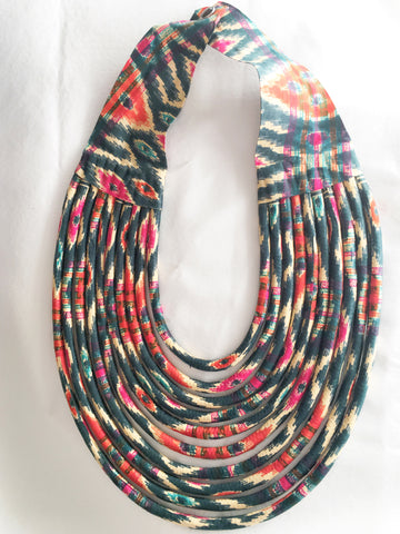 Medium Cloth Bib Necklace - Santa Fe Green Red
