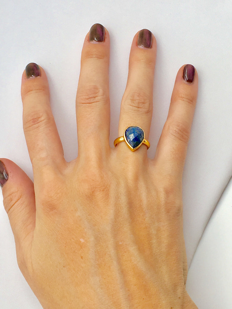 Gold Anvil Ring with Lapis Lazuli
