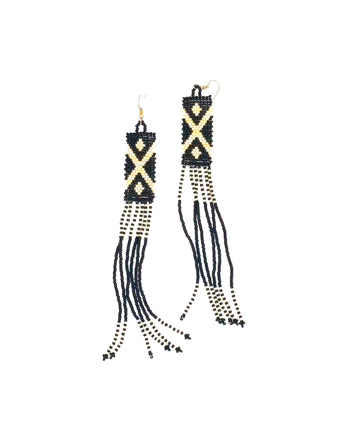 Nthabi Earrings Black and Cream