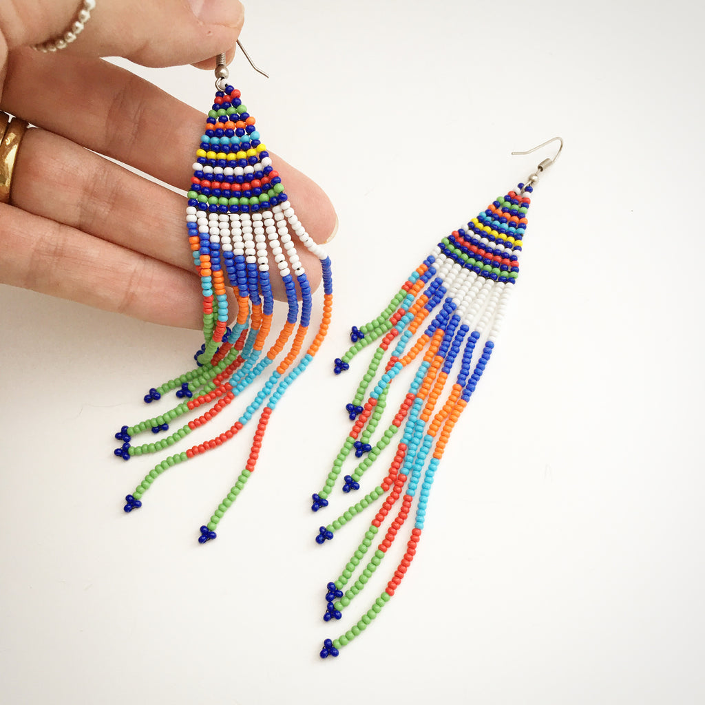 Blue Feathered Bead Earrings