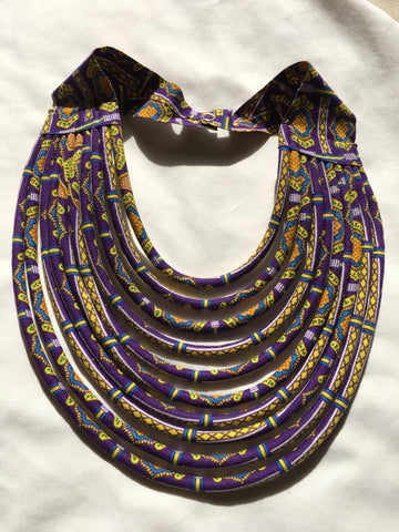 The Rope Necklace in African Wax Cloth - Purple & Yellow Bib Necklace