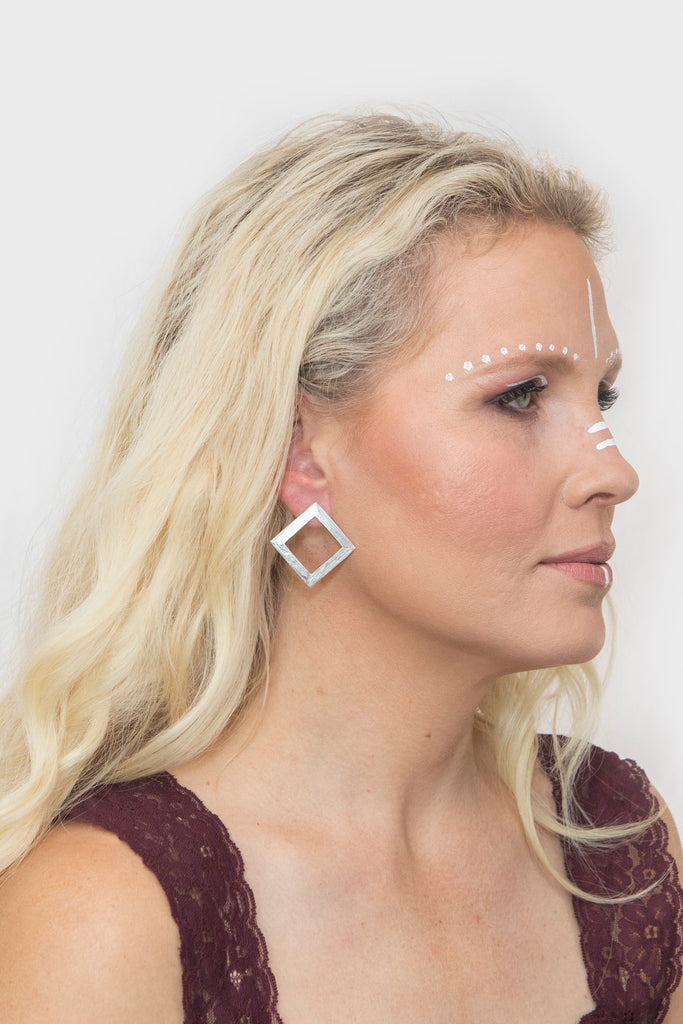 Thora's Square Earrings in Silver