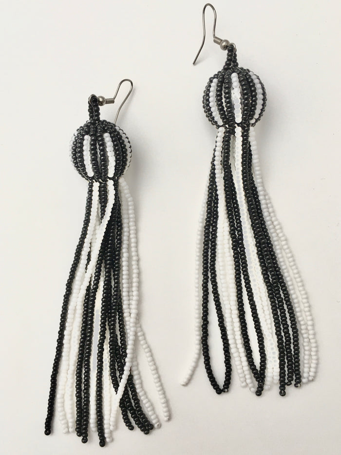 Ball and Fringe Bead Earrings