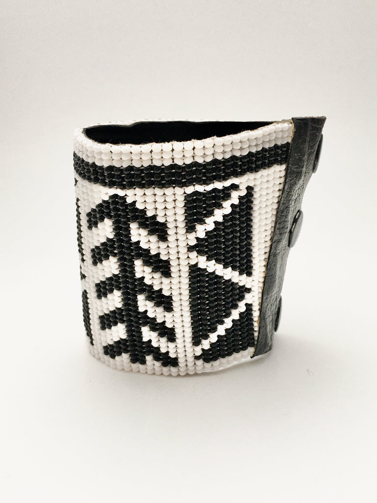 Beaded Cuff Bangle in Black and White