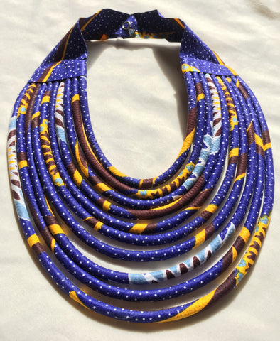 The Rope Necklace in African Wax cloth - Blue & Yellow Bib Necklace