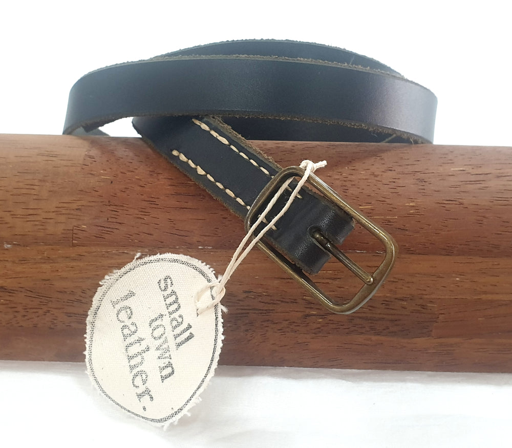 BLACK LEATHER BELT 02