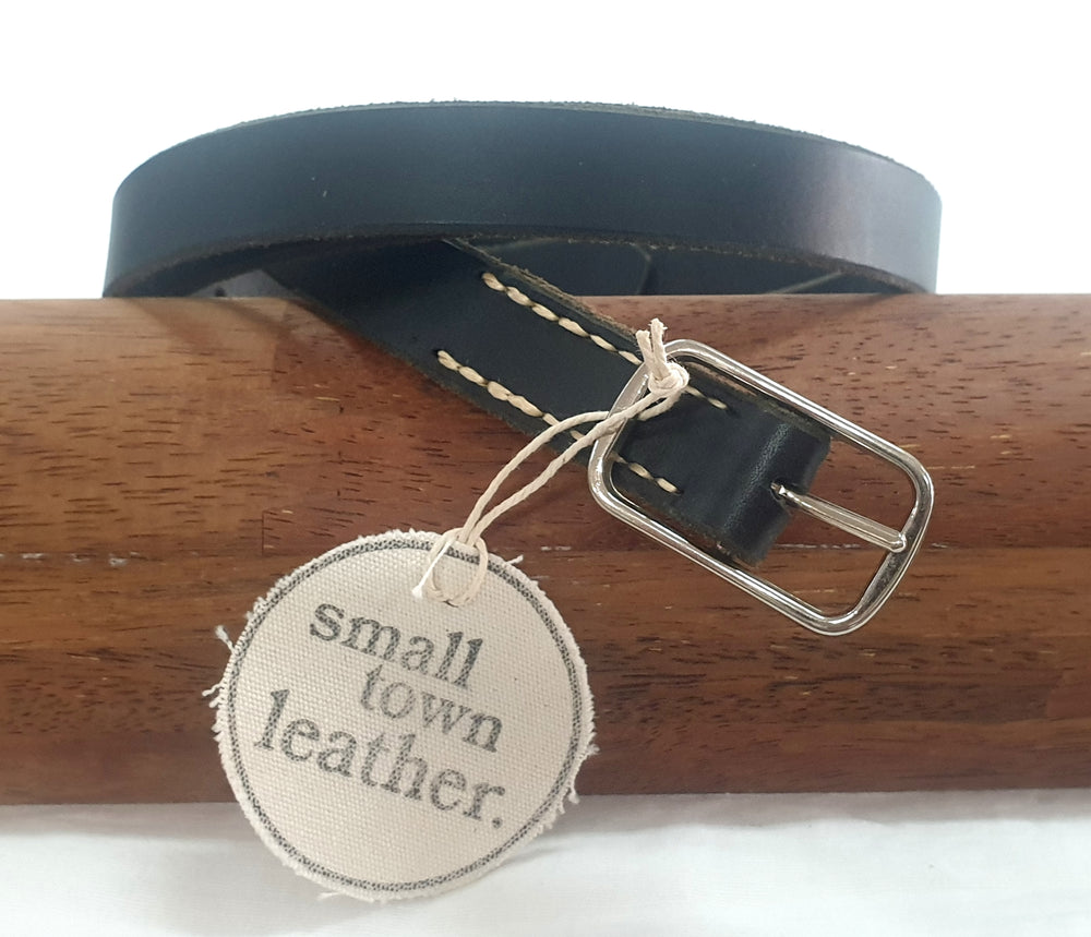 BLACK LEATHER BELT 03