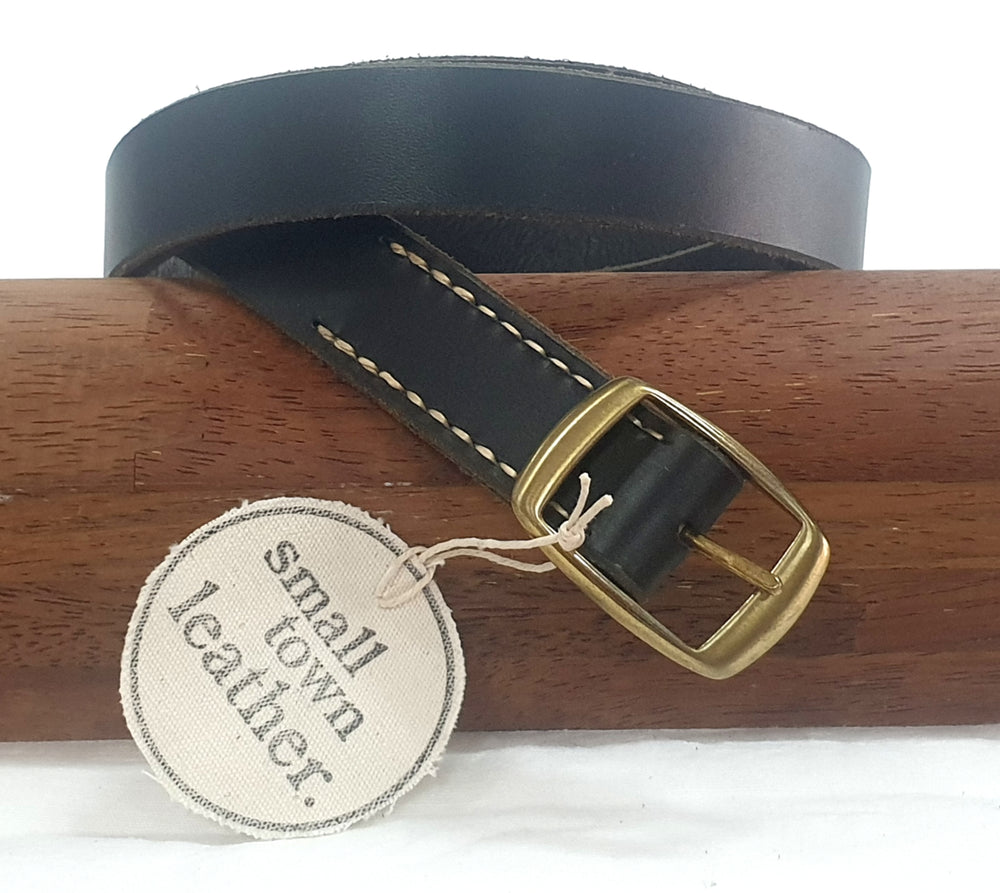 BLACK LEATHER BELT 06