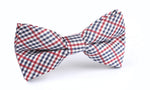 NAVY RED AND WHITE GINGHAM BOW TIE