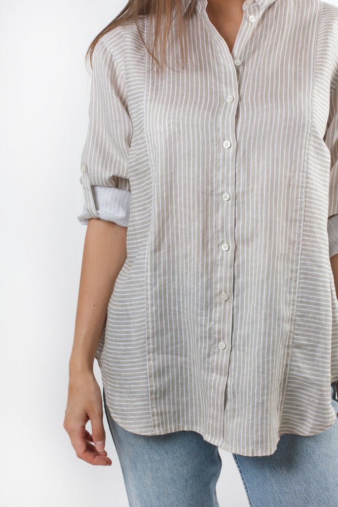 LINEN BOYFRIEND SHIRT - TAUPE MIXED STRIPE