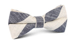 NAVY AND WHITE STRIPE LINEN BOW TIE