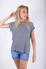 LINEN TEE - NAVY & WHITE STRIPE