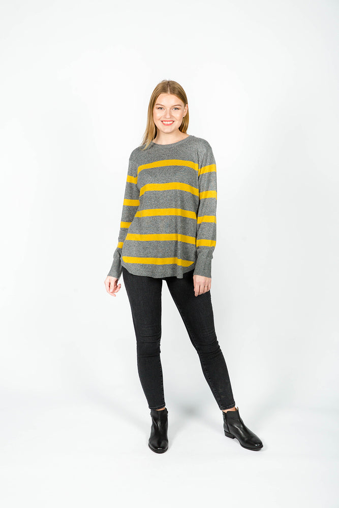 GREY AND MUSTARD STRIP KNIT