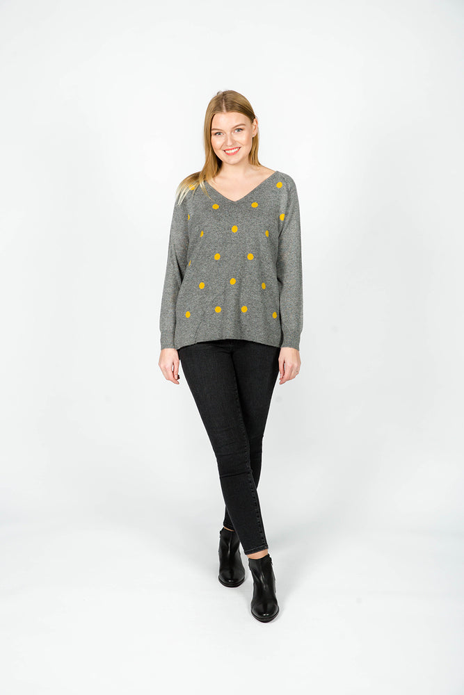GREY AND MUSTARD SPOT KNIT