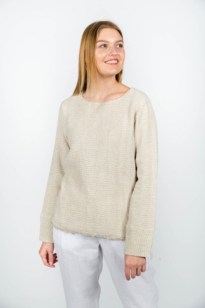 LINEN LONG SLEEVE SHIRT WAVE