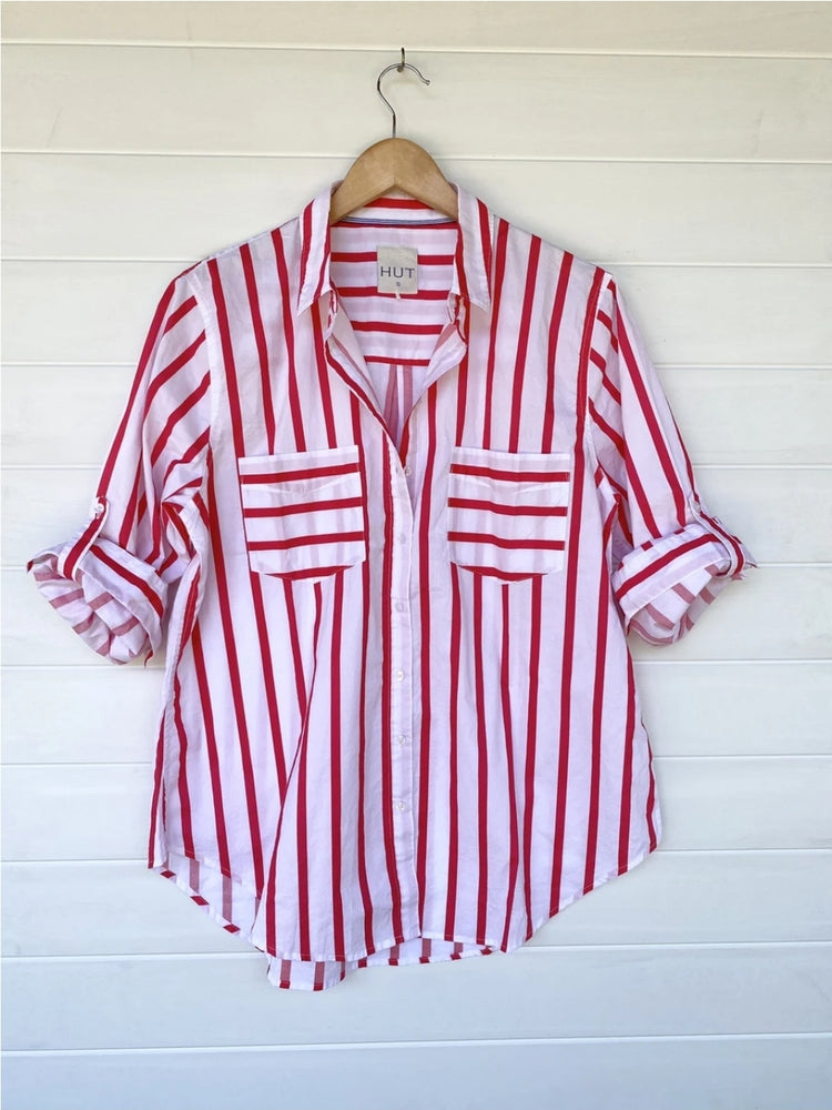 COTTON BOYFRIEND SHIRT - RASPBERRY STRIPE