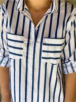 COTTON BOYFRIEND SHIRT - NAVY STRIPE