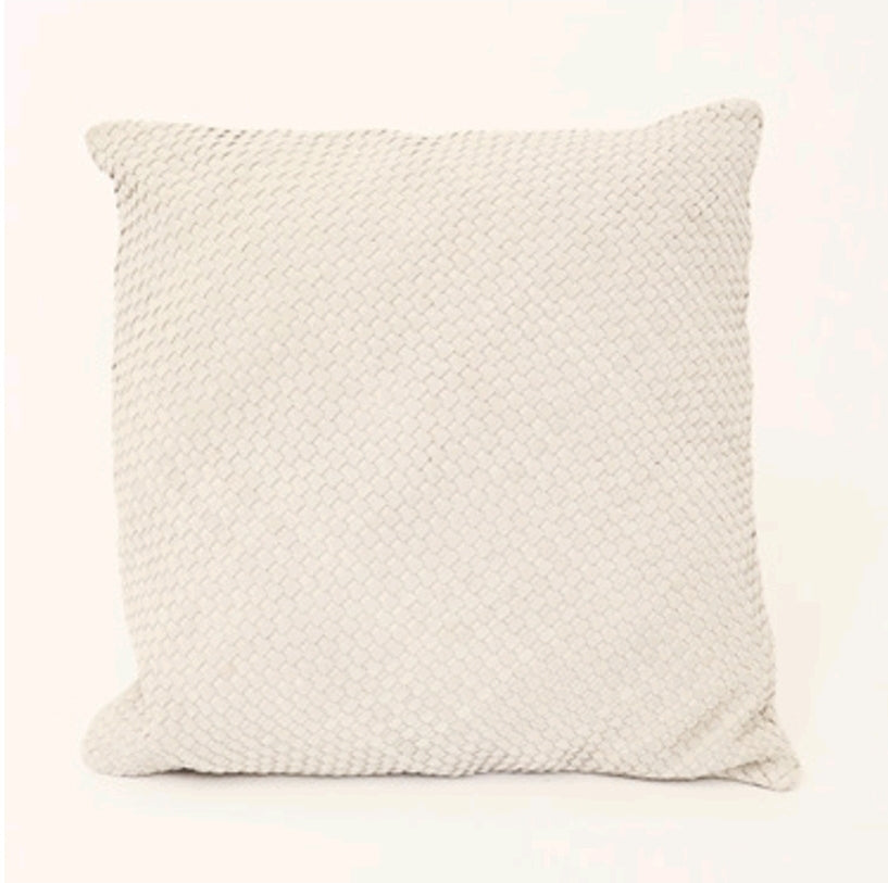 BRAIDED CUSHION - ECRU SQUARE