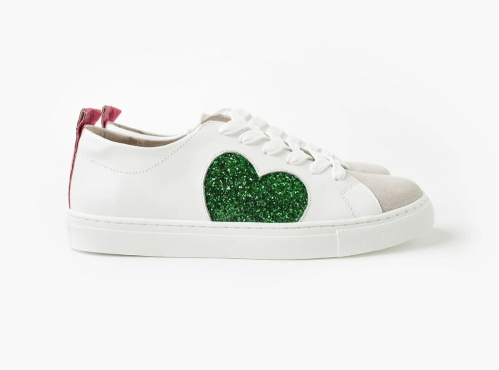 HEART LEATHER SNEAKER - GREEN GLITTER