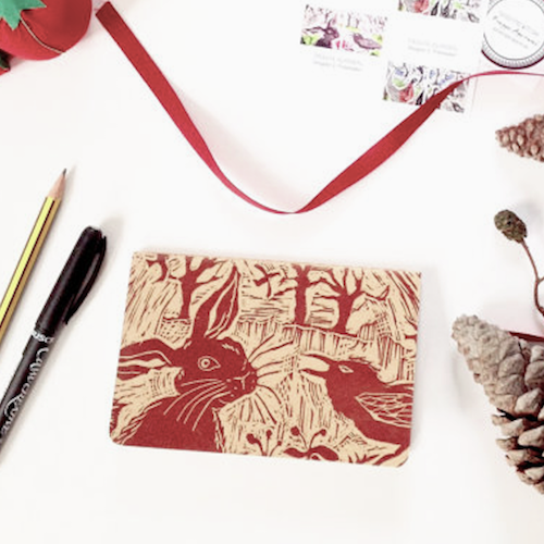Linocut Handprinted Notebook Set