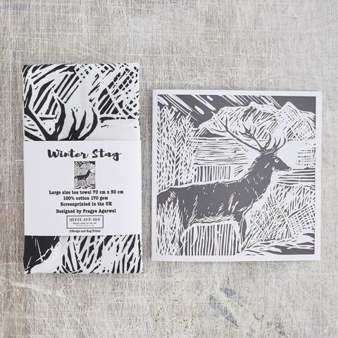 Scottish Stag Tea Towel and Card Combo